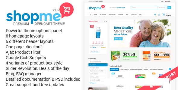 دانلود قالب فروشگاهی اپن کارت ShopMe نسخه 1.5 راست چین